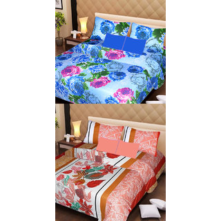 AKASH GANGA MULTI COLOUR  2 COTTON BEDSHEET WITH 4 PILLOW COVERS (AG1079)