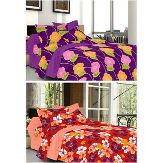 valtellina Combo of 2 Double Bed Sheets with 2 Pillow Covers(ytd-029_030)
