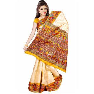 Somya Fine Bhagalpuri Silk Saree With Yellow Varli Print