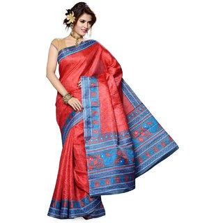 Somya In Fashion Red Printed Bhagalpuri Silk Saree