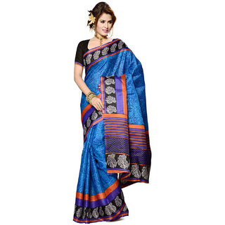 Somya In The Mainstream Blue Printed Bhagalpuri Silk Saree