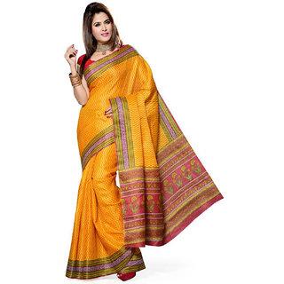Somya In Vogue Yellow Printed Bhagalpuri Silk Saree
