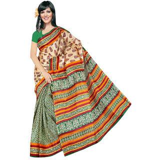 Somya Lovely Womens  Womens  Green Half n Half Printed Bhagalpuri Silk Saree