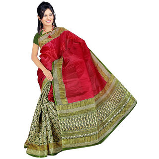 Somya Magnificent Womens  Red Half n Half Printed Bhagalpuri Silk Saree