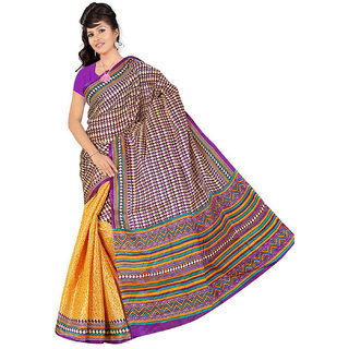 Somya Marvelous Womens  Yellow Half n Half Printed Bhagalpuri Silk Saree