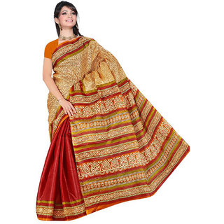 Somya Mod Womens Maroon  Half n Half Printed Bhagalpuri Silk Saree