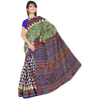 Somya Modernistic Womens Maroon  Half n Half Printed Bhagalpuri Silk Saree