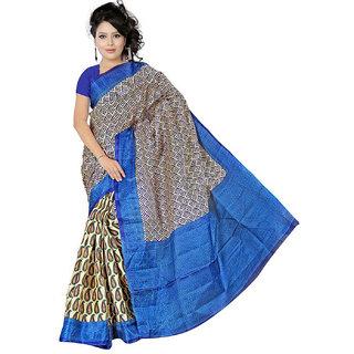 Somya Nice Womens  Blue Half n Half Printed Bhagalpuri Silk Saree