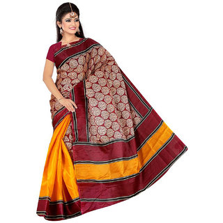 Somya Nifty Womens  Red Half n Half Printed Bhagalpuri Silk Saree
