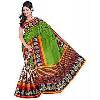 Somya Pretentious Womens  Half n Half Printed Bhagalpuri Silk Saree