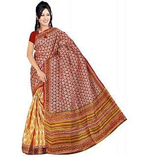Somya Pretty Womens  Maroon Half n Half Printed Bhagalpuri Silk Saree