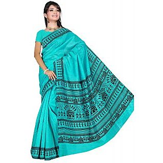Somya Sublime Womens Bhagalpuri Silk Varli Print Green Saree
