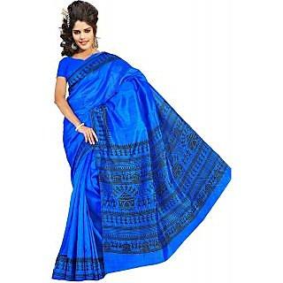 Somya Swank Womens Bhagalpuri Silk Varli Print Dark Blue Saree