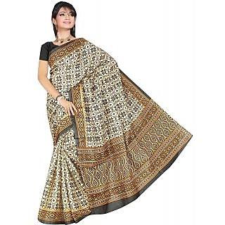 Somya Conspicuous Womens Bhagalpuri Silk Printed Black and White Saree