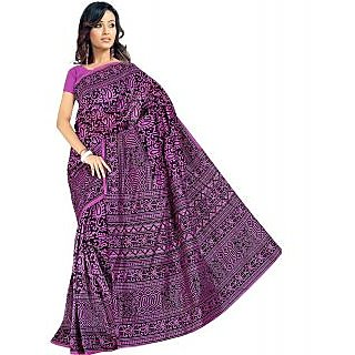 Somya Classic Womens Bhagalpuri Silk Printed Purple Saree