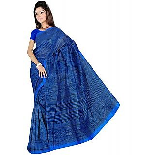 Somya Glamorous Womens Bhagalpuri Silk Printed Blue Saree