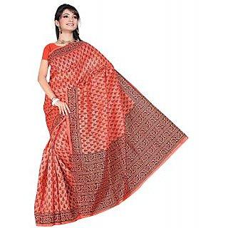 Somya Enchanting Womens Bhagalpuri Silk Printed Orange Saree