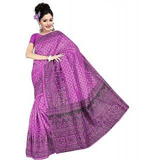 Somya Tantalizing Womens Bhagalpuri Silk Printed Purple Saree