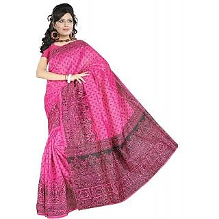 Somya Tarditional Womens Bhagalpuri Silk Printed Pink Saree