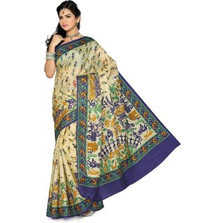 Somya Tempting Womens Bhagalpuri Silk Printed Green Saree