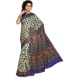 Somya Alluring Womens Bhagalpuri Silk Printed Green Saree