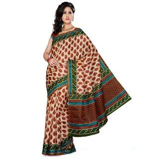 Somya Angelic Womens Bhagalpuri Silk Printed White Saree
