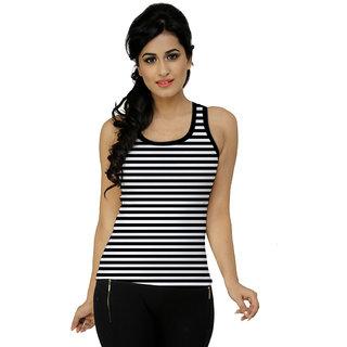 Black n White Stripes Sleeveless Top