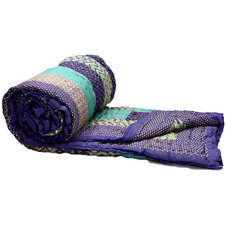 Marwal Ethnic Single Cotton Quilt In Purple & Green Flower Design