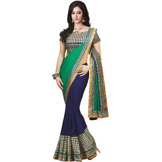 Sareemall Blue & Green Faux Georgette Saree with Unstitched Blouse 7REL7018