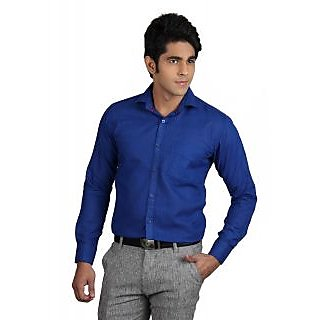 Finder Zone Men'S Solid Formal Linen Shirt - Blue
