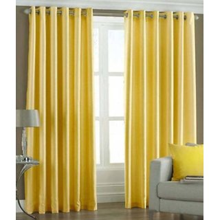 Fabbig Yellow Crush Window Curtains (Set Of 2)