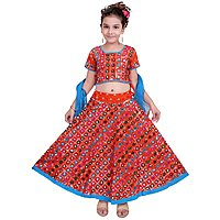 Wajbee Girls Multicolor Cotton Blend Ghagra Choli