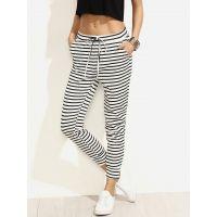 Shimmer Black White Striped Drawstring Waist Pant