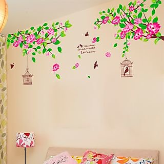 Walltola Pvc Hibiscus Flowers Wall Decal (24X35 Inch)