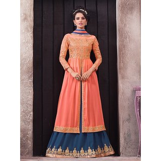Sareemall Peach Semi Stitched Suit with Matching Dupatta RYA2005