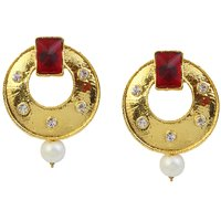 Kriaa Gold Finish Maroon Austrian Stone Pearl Drop Earrings - 1305922