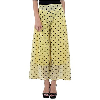 Raabta Womens Yellow with White Polka Dotted Palazzo