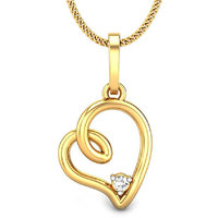 Candere Orelia Heart Diamond Pendant Yellow Gold 14K