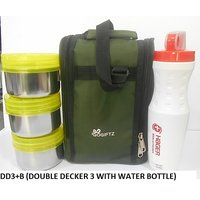 DD3+PB GOGIFTZ  LUNCH BOX OF 3 DOUBLE DECKER CONTAINER AND PARTITION FOR BOTTLLE