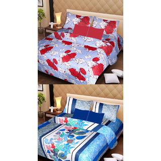 Akash Ganga Set of 2 Cotton Bedsheets with 4 Pillow Covers (AG1086)