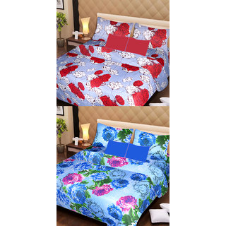 Akash Ganga Set of 2 Cotton Bedsheets with 4 Pillow Covers (AG1089)