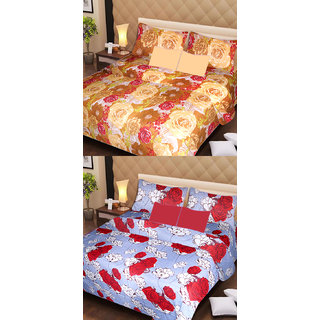 Akash Ganga Set of 2 Cotton Bedsheets with 4 Pillow Covers (AG1093)
