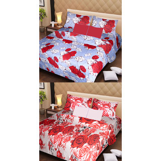 Akash Ganga Set of 2 Cotton Bedsheets with 4 Pillow Covers (AG1095)