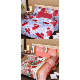 Akash Ganga Set of 2 Cotton Bedsheets with 4 Pillow Covers (AG1096)