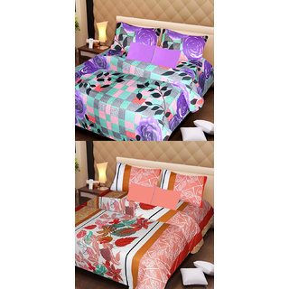 Akash Ganga Set of 2 Cotton Bedsheets with 4 Pillow Covers (AG1099)
