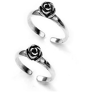 Antique Flower Design Silver Toe Ring-TR208