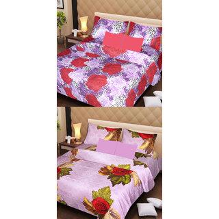 Akash Ganga Set of 2 Cotton Bedsheets with 4 Pillow Covers (AG1102)