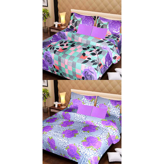 Akash Ganga Set of 2 Cotton Bedsheets with 4 Pillow Covers (AG1103)