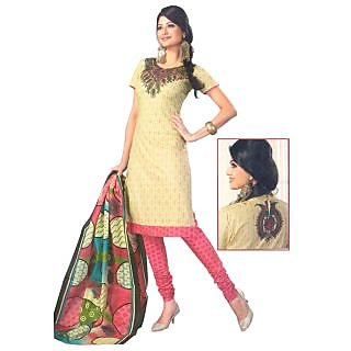 SGC- Fawn & Pink cotton unstitched churidar kameez with dupatta -R- 620