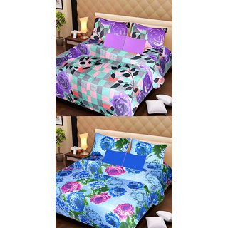 Akash Ganga Pure Cotton 2 Double Bedsheets with 4 Pillow Covers (AG1106)